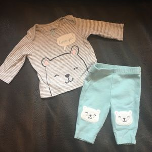 Newborn baby girl outfit with bears